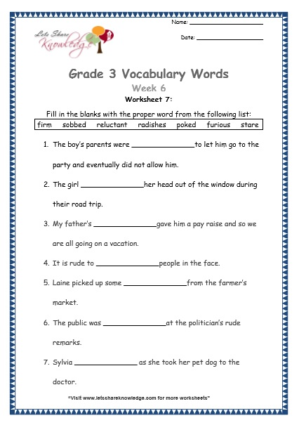 Grade 3: Vocabulary Worksheets Week 6 - Lets Share Knowledge