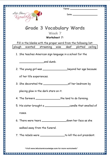 Common nouns worksheets for grade 7