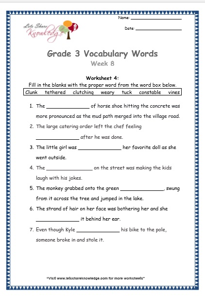 Grade 3: Vocabulary Worksheets Week 7
