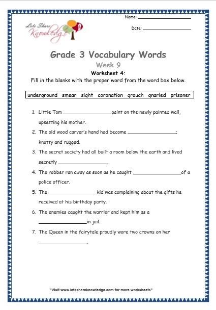 Grade 3: Vocabulary Worksheets Week 9 - Lets Share Knowledge
