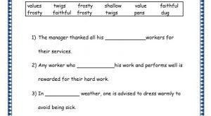 Grade 3: Vocabulary Worksheets Week 17 faithful, frosty, dug, value, shallow, twig, pan