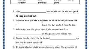 Grade 3: Vocabulary Worksheets Week 18 mention, ghastly, moat, mumbled, ancient, glare, boyish