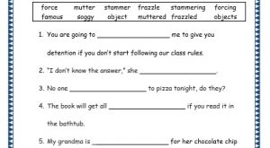 Grade 3: Vocabulary Worksheets Week 20 force, famous, mutter, soggy, stammer, object, frazzle