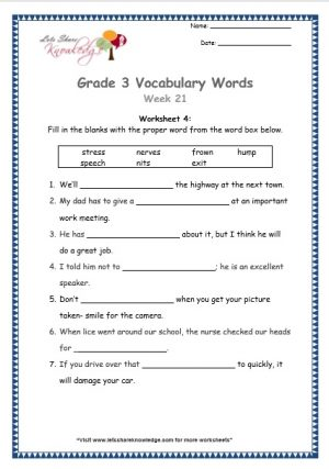 Grade 3: Vocabulary Worksheets Week 21 stress, speech, nerves, nits, frown, exit, hump