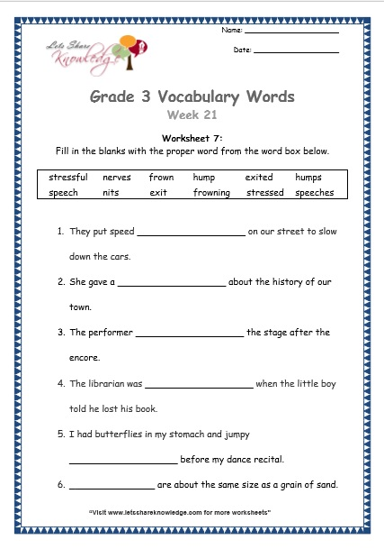 Grade 3: Vocabulary Worksheets Week 21 - Lets Share Knowledge
