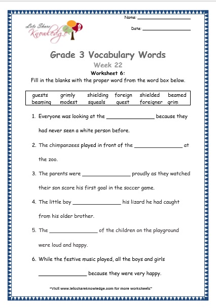 Grade 3: Vocabulary Worksheets Week 22 - Lets Share Knowledge