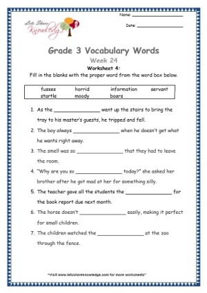 Grade 3: Vocabulary Worksheets Week 24 information, boar, startled, horrid, moody, servant, fuss