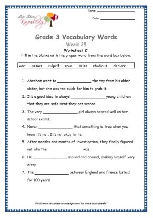 grade 3 vocabulary week 25 worksheet 7 words seize, assure, culprit, declare, war, spun, studious