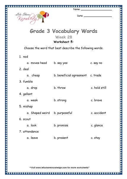 Grade 3: Vocabulary Worksheets Week 28 attendance, nod, gallant, deal, scout, mishap, fumble