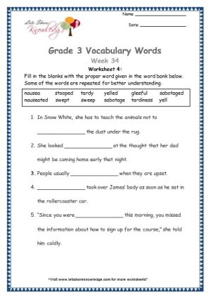 Grade 3: Vocabulary Worksheets Week 34 sabotage, sweep, stoop, tardy, gleeful, nausea, yell