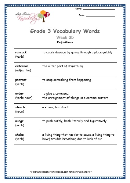 Grade 3: Vocabulary Worksheets Week 35 - Lets Share Knowledge