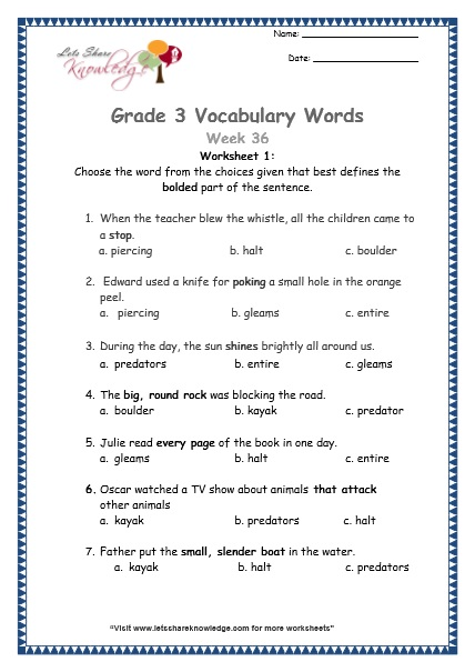 8th grade vocabulary worksheets printable