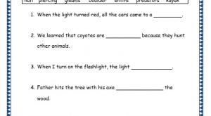 Grade 3: Vocabulary Worksheets Week 36 halt, piercing, gleams, boulder, entire, predators, kayak