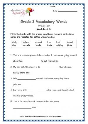 grade 3 vocabulary shaky, sulked, errand, trod, lend, kennel, kink