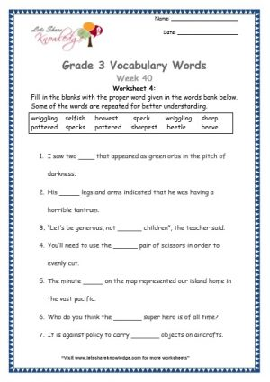 vocabulary grade 3 selfish, sharp, beetle, speck, pattered, wriggling, brave