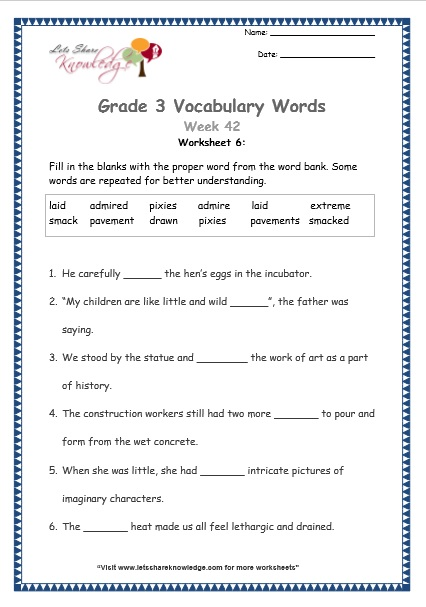 2nd grade vocabulary worksheets pdf