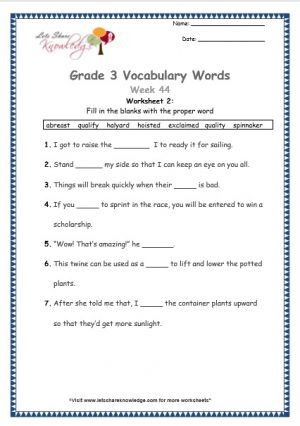 hoisted, abreast, spinnaker, exclaimed, halyard, quality, qualify - grade 3 vocabulary