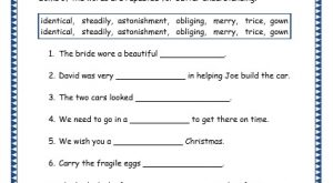 identical, steadily, astonishment, obliging, merry, trice, gown - grade 3 vocabulary