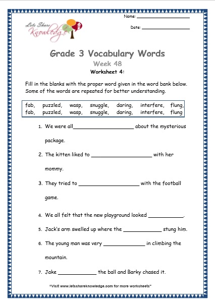 Grade 3: Vocabulary Worksheets Week 48 - Lets Share Knowledge