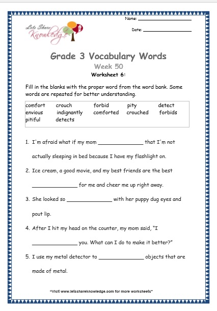 comfort, crouch, forbid, pity, detect, envious, indignantly - grade 3 vocabulary