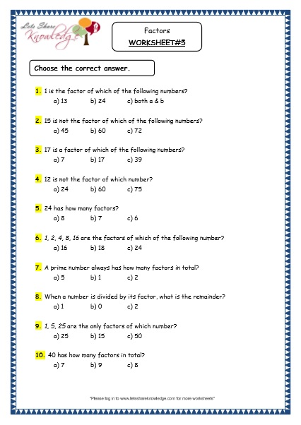 Factors worksheet grade 5
