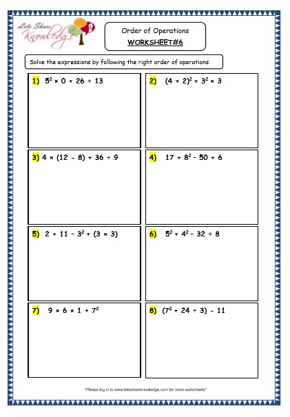 Grade 4 Maths Resources 1 8 Order Of Operations Printable