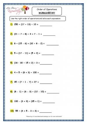 Grade 4 Maths Resources (1.8 Order of Operations Printable Worksheets)