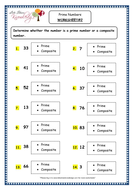 Grade 4 Maths Resources (1.11 Prime Numbers Printable Worksheets)