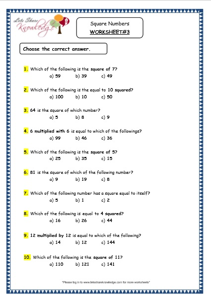 Grade 4 Maths Resources (1.12 Square Numbers Printable Worksheets ...