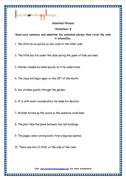 Grade 4 English Resources Printable Worksheets Topic Adverbial Phrases Lets Share Knowledge