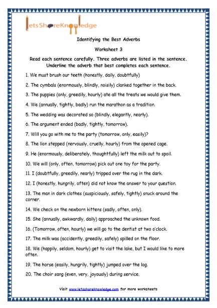 Grade 4 English Resources Printable Worksheets Topic: Adverbs and ...