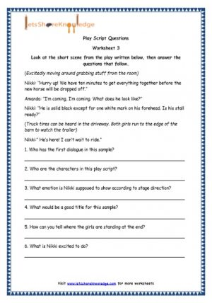Grade 4 English Resources Printable Worksheets Topic: Play Scripts