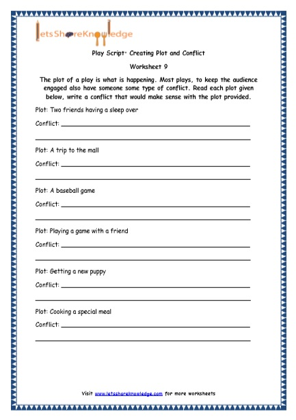 Grade 4 English Resources Printable Worksheets Topic Play Script