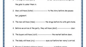 Grade 4 English Resources Printable Worksheets Topic: Future Perfect Tenses