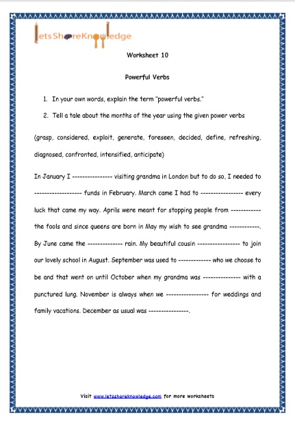 Grade 4 English Resources Printable Worksheets Topic: Powerful Verbs ...