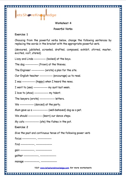 Grade 4 English Resources Printable Worksheets Topic: Powerful Verbs - Lets  Share Knowledge