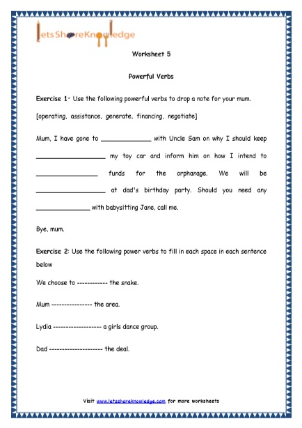Grade 4 English Resources Printable Worksheets Topic: Powerful Verbs