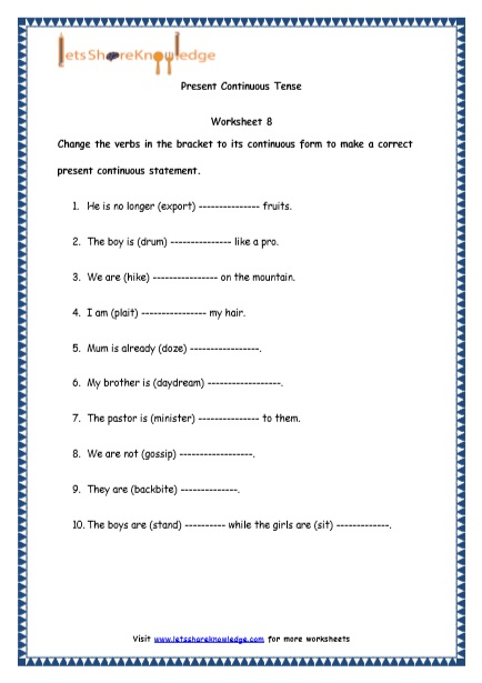 Grade 4 English Resources Printable Worksheets Topic: Present Continuous Tenses