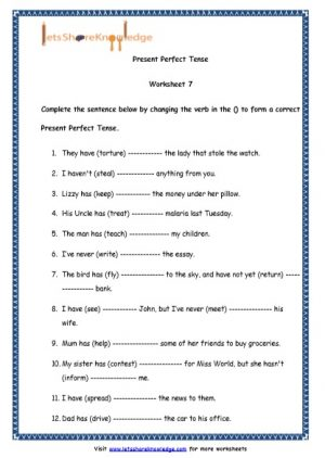 Grade 4 English Resources Printable Worksheets Topic: Present Perfect Tenses