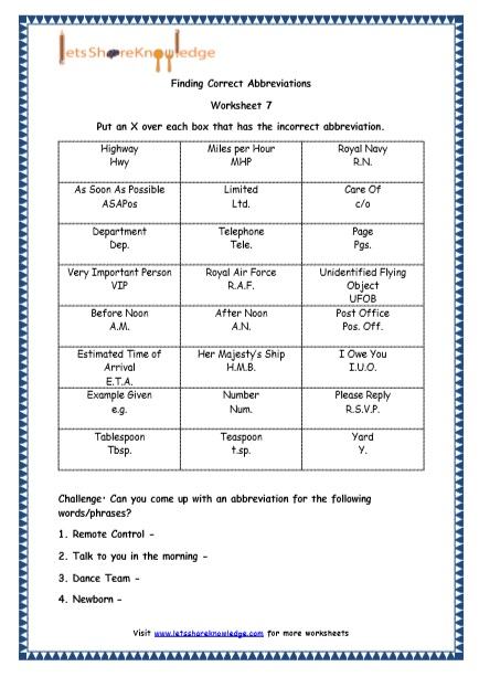 Grade 4 English Resources Printable Worksheets Topic: Abbreviations