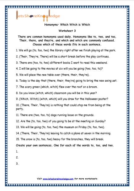 Grade 4 English Resources Printable Worksheets Topic: Homonyms