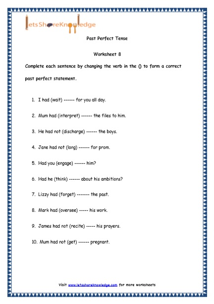 Grade 4 English Resources Printable Worksheets Topic: Past Perfect Tenses