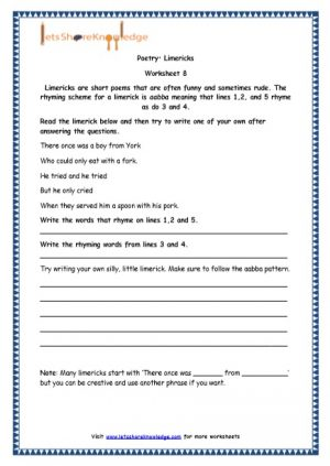 Grade 4 English Resources Printable Worksheets Topic: Poetry