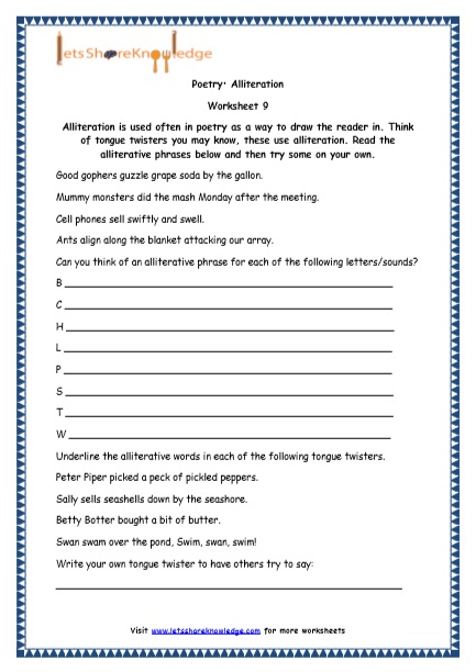 Poetry: Alliteration Worksheet 9 Alliteration is used often in ...