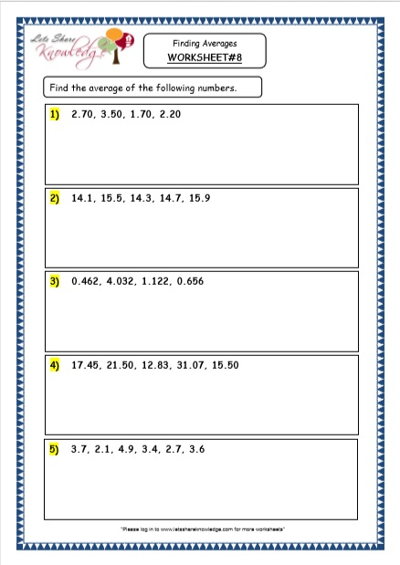 Grade 4 Maths Resources (5.1 Finding Averages Printable Worksheets)