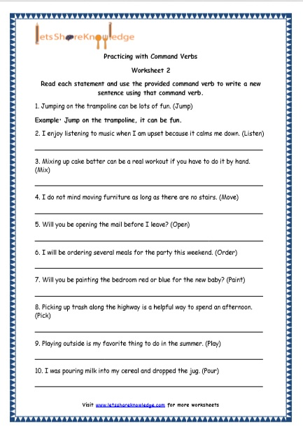 Grade 4 English Resources Printable Worksheets Topic: Command Verbs – Lets  Share Knowledge