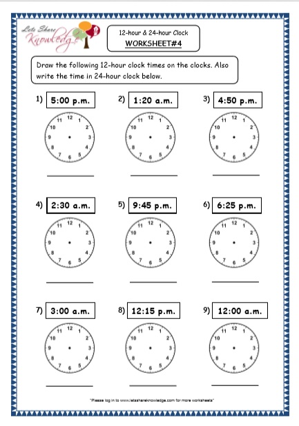Grade 4 Maths Resources (7.1 Time - 12-hour & 24-hour Clock Printable Worksheets)