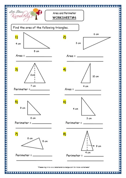 Grade 4 Maths Resources (8.3 Geometry - Area and Perimeter Printable Worksheets)