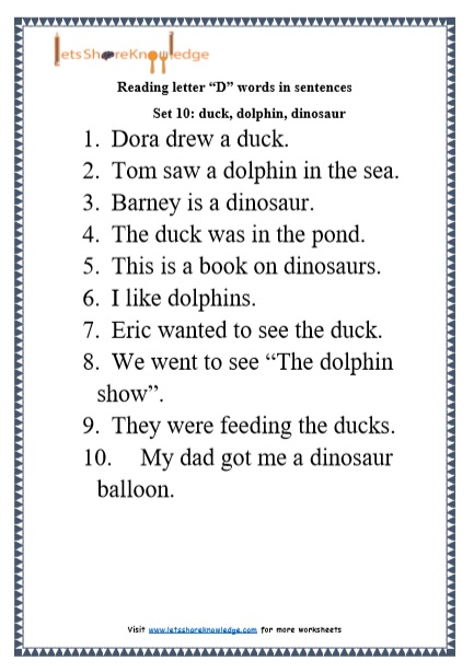 Kindergarten Reading Practice for Letter