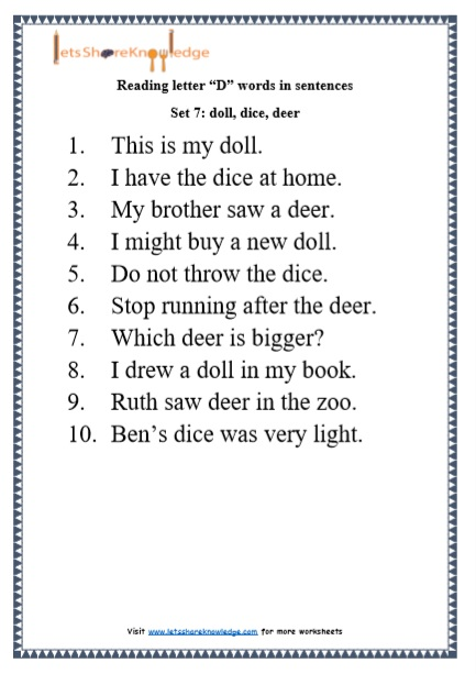 kindergarten reading practice for letter d words in sentences printable worksheets